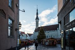 Urzędu Miasta kwadrat w Tallinn Obrazy Stock