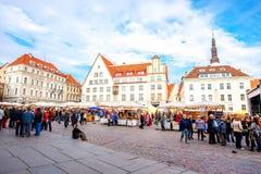 Urzędu Miasta kwadrat w Tallinn Zdjęcia Royalty Free