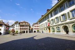 Urzędu miasta kwadrat w Thun Fotografia Royalty Free