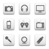 Urządzenie elektroniczne ikony Obrazy Stock