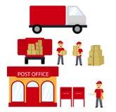 Urząd pocztowy, pudełka, listonosz, Doręczeniowa ciężarówka pojęcia dostawy odosobniony biel Wektorowy mieszkanie Zdjęcia Stock