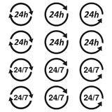 24 7 usługa otwartej 24h godziny dzień i 7 dni tydzień Mieszkanie odosobniona wektorowa ilustracja w czerni Zdjęcie Royalty Free