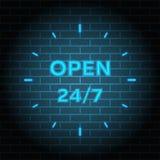 24 7 usługa otwartej 24h godziny dzień i 7 dni tydzień Mieszkanie odosobniona wektorowa ilustracja w czerni Zdjęcia Royalty Free