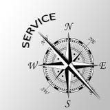 Usługa pisać na boku kompas Obrazy Stock