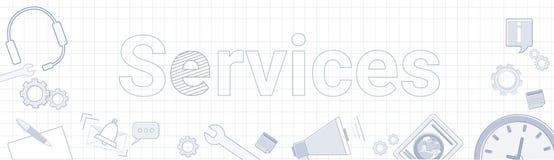Usługa słowo Z Biurowymi materiał ikonami Na Ciosowym tle ilustracji
