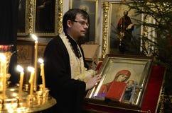 Usługa w Ortodoksalnym kościół Fotografia Stock
