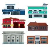 Usługowi miasto budynki ilustracja wektor