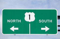 US 1 Road sign. North and South stock photos