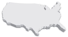 US 3D State map. An US State map in Black and White 3D stock illustration