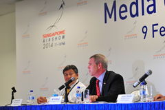 US Abassador to Singapore speaking at media conference of Singapore Airshow Royalty Free Stock Photos