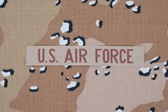 US AIR FORCE concept on camouflage uniform Stock Photography