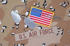 US AIR FORCE concept with dog tags on camo Royalty Free Stock Photography