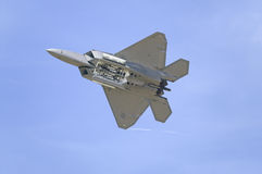 US Air Force F-22A Raptor Jet Fighter flying. At the 42nd Naval Base Ventura County (NBVC) Air Show at Point Mugu, Ventura County, Southern California Stock Photos