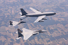 US Air Force F-15 Eagles fly over St. Louis, Missouri, USA. Royalty Free Stock Image