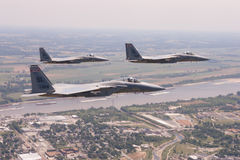 US Air Force F-15 Eagles fly over St. Louis, Missouri, USA. Royalty Free Stock Photo
