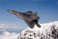 US Air Force F-22A Raptor in flight. The F-22 is a 5th Generation stealth fighter made by Lockheed Martin. Royalty Free Stock Photography