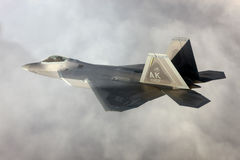 US Air Force F-22A Raptor in flight. The F-22 is a 5th Generation stealth fighter made by Lockheed Martin. Stock Images