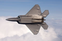 US Air Force F-22A Raptor in flight. The F-22 is a 5th Generation stealth fighter made by Lockheed Martin. Royalty Free Stock Images