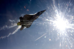 US Air Force F-22A Raptor in flight. The F-22 is a 5th Generation stealth fighter made by Lockheed Martin. Stock Photo