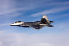 US Air Force F-22A Raptor in flight. The F-22 is a 5th Generation stealth fighter made by Lockheed Martin. Stock Photos