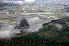 US Air Force F-22A Raptor in flight. The F-22 is a 5th Generation stealth fighter made by Lockheed Martin. Royalty Free Stock Image