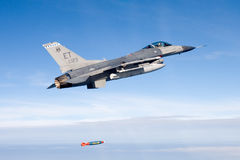 US Air Force F-16 Vipers flies over the Gulf coast of Florida, USA over Italy. The aircraft was testing a new laser Royalty Free Stock Images