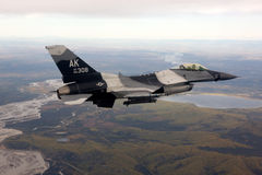 US Air Force F-16 Vipers fly over Alaksa. Stock Photo
