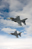 US Air Force F-16 Vipers fly over Italy. Royalty Free Stock Photography