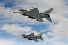 US Air Force F-16 Vipers fly over Italy. Royalty Free Stock Photo