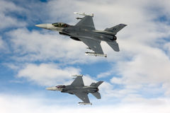 US Air Force F-16 Vipers fly over Italy. Stock Images