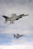 US Air Force F-16 Vipers fly over Italy. Stock Photos