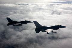 US Air Force F-16 Vipers fly over Italy. Royalty Free Stock Images