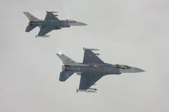 US Air Force F-16 Vipers fly over Italy. Royalty Free Stock Image