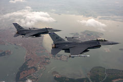 US Air Force F-16 Vipers fly over Italy. Royalty Free Stock Photos