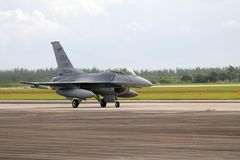 US military fighter plane at Florida Air Force base royalty free stock photo