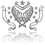US Air Force Insignia with Ribbons. Doodle style military insignia for US Air Force including eagle wings and star Stock Photo