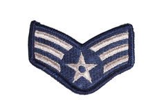 Us air force sergeant rank patch. Isolated stock photo