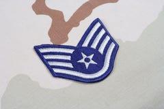 US AIR FORCE Staff Sergeant rank patch on desert uniform Royalty Free Stock Photo