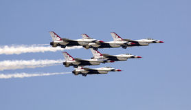 US Air Force Thunderbirds. Performing at the Atlantic City Airshow called Thunder Over The Boardwalk, The Thunderbirds are the United States Air Force Air royalty free stock images
