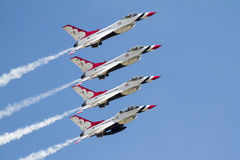 US Air Force Thunderbirds. The US Airforce Thunderbirds in flight during the 2015 Wings Over Wayne Airshow Stock Photo