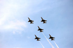 US Air Force Thunderbirds in Close formation Stock Image