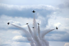 US Air Force Thunderbirds in formation Royalty Free Stock Photos