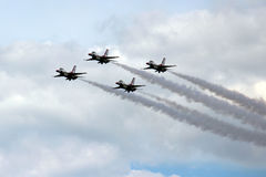 US Air Force Thunderbirds in formation stock photo