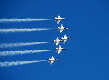 US Air Force Thunderbirds soaring Royalty Free Stock Images