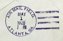 US Air Mail Postmark. USA, 1928. Vintage cancellation air mail postmark from Atlanta, state of Georgia on an old postal cover, circa 1928 Stock Image