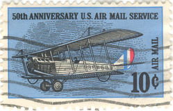 US Air Mail Service Stamp. 50th anniversary United States Air Mail Service, 10 cent stamp Royalty Free Stock Images