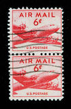 US Air Mail Stamp. Two vintage US Air Mail Stamp with airplane, six cents Stock Images