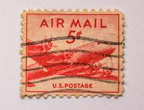 Us Air Mail Stamp, vintage!. Vintage best, US Air Mail Stamp, from 1945, five cents,Take-off plane. This stamp was printed at the end of the Second World War stock photos