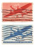 Us Air Mail Stamps. A collection of vintage US Air Mail Stamps dated 1946, six cents and 30 cents Stock Photography