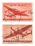 Us Air Mail Stamps. A collection of vintage US Air Mail Stamps dated 1946, five cents and 15 cents Stock Image